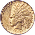 Indian Eagles, 1907 $10 Rolled Rim AU58 NGC....