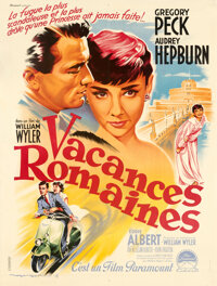 """Roman Holiday (Paramount, 1954). Very Fine- on Linen. French Grande (47.75"""" X 63"""") Roger Soubie Artwork"""