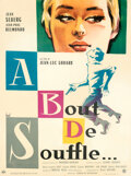 "Movie Posters:Foreign, Breathless (SNC, 1960). Fine/Vey Fine on Linen. French Grande (47"" X 63"") Clement Hurel Artwork.. ..."