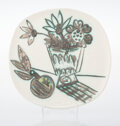 Prints & Multiples, Pablo Picasso (1881-1973). Bouquet a la pomme, 1956. Terre de faïence plate, painted and partially glazed. 9-7/8 x 10 in...
