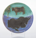 Prints & Multiples, Pablo Picasso (1881-1973). Toros, 1952. Terre de faïence plate, painted and partially glazed. 7-3/4 inches (19.7 cm) dia...