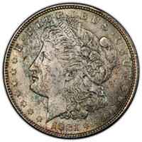 1921 $1 MS66+ PCGS. CAC. PCGS Population: (740/19 and 153/0+). NGC Census: (672/13 and 22/1+). CDN: $375 Whsle. Bid for...