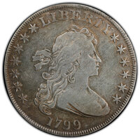 1799 $1 7x6 Stars, B-11, BB-161, R.3 -- Surfaces Smoothed -- PCGS Genuine. VG Details....(PCGS# 40052)