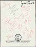Autographs:Others, 1997 Touchdown Club of Columbus Multi-Signed Banquet Program....