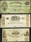 """Obsoletes By State:Maryland, Maryland, New York, and Ohio Vlack Unlisted Advertising Notes Fine.. Myersville, MD- Joseph Brown """"75"""" Mar. 1851;. Wes... (Total: 3 notes)"""