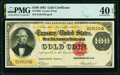 Large Size:Gold Certificates, Fr. 1207 $100 1882 Gold Certificate PMG Extremely Fine 40 EPQ.. ...