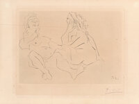 Pablo Picasso (1881-1973) Deux femmes III, 1965 Drypoint on paper 9 x 13 inches (22.9 x 33 cm) (i