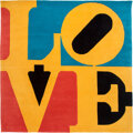 Textiles, Robert Indiana (1928-2018). Chosen Love (Red, Yellow, Blue). Wool. 96 x 96 inches (243.8 x 243.8 cm). Ed. 73/175. Signed...
