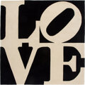 Textiles, Robert Indiana (1928-2018). Chosen Love (Black, White). Wool. 96 x 96 inches (243.8 x 243.8 cm). Ed. 108/175. Signed to ...