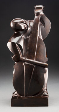 After Ferdinand Parpan (French, 1902-2004) Le Contrebassiste Bronze 18 inches (45.7 cm) Ed. 6/