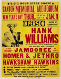 Music Memorabilia:Posters, Hank Williams 1953 Canton, OH Genuine Original Concert Poster for the Show He Died En Route To....