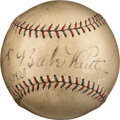 Baseball Collectibles:Balls, 1928 Babe Ruth, Lou Gehrig & Waite Hoyt Signed Baseball from Day of World Series Clincher....