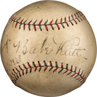 1928 Babe Ruth, Lou Gehrig & Waite Hoyt Signed Baseball from Day of World Series Clincher