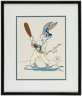 Autographs:Photos, Mickey Mantle Signed Bugs Bunny At Bat Illustration Print - UDA....