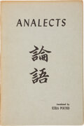 Books:Signed Editions, Ezra Pound Inscribed and Signed Copy of Confucian Analects, ...
