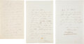 """Autographs:Non-American, Jenny Lind """"The Swedish Nightingale"""" Three Autograph Letters Signed. ..."""