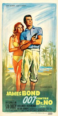 """Dr. No (United Artists, 1962). Very Fine+ on Linen. French Poster (15.5"""" X 31"""") Boris Grinsson Artwork"""