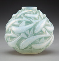 R. Lalique Frosted Glass Oléron Vase with Green Patina, circa 1927 Marks: R. Lalique, France, No. 1008 9 i