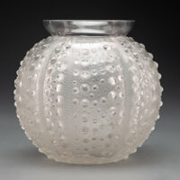 R. Lalique Clear and Frosted Glass Oursin Vase, circa 1935 Marks: R. LALIQUE, FRANCE 18 inches (45.7 cm)