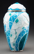 Ceramics & Porcelain, Mauricette Pinoteau Enameled Metal Vase with Cover, circa 1980. Marks: M. PinoTeau, Limoges.. 13-1/2 inches (34.3 cm). ...