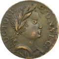 Colonials, 1785 CONNCT Connecticut, African Head, M. 4.1-F.4, W-2355, R.1, AU53 NGC. This piece is nearly equal in sharpness to the ot...