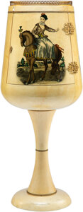 Furniture, Fornasetti-Style Wood Wine Glass-Form Pedestal Bar, 20th century. 51 inches (129.5 cm). ...