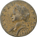 Colonials, 1787 Connecticut, Horned Bust, M. 4-L, W-2810, R.1, AU55 NGC. Obverse die 4 is known only with reverse die L. Reverse die L ...