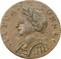 Colonials, 1787 Connecticut, Horned Bust, M. 4-L, W-2810, R.1, AU55 NGC. 142.6 grains. This example represents a slightly later die sta...