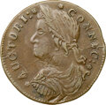 Colonials, 1787 Connecticut, Draped Bust Left, M. 33.3-W.1, W-3400, High R.4, AU53 NGC. Likely the terminal die state with cracks throu...