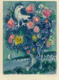 After Marc Chagall By Charles Sorlier La Baie des anges au bouquet de roses, from Nic