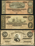 Confederate Notes:1864 Issues, T66 $50 1864 About Uncirculated;. T67 $20 1864 Fine-Very Fine;. T68 $10 1864 Very Fine.. ... (Total: 3 items)