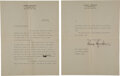 Autographs, George Gershwin Typed Letter Signed... (Total: 2 Items)