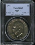 Eisenhower Dollars: , 1976 Type One MS65 PCGS. ...