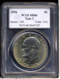 Eisenhower Dollars: , 1976 Type Two MS66 PCGS. ...