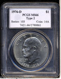 Eisenhower Dollars: , 1976-D Type Two MS66 PCGS. ...