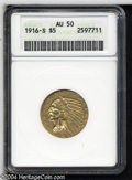 Indian Half Eagles: , 1916-S AU50 ANACS. The current Coin Dealer Newsletter (...