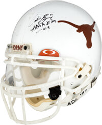 2003 Cedric Benson Game Worn, Signed & Inscribed Texas Longhorns Helmet