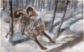 Movie/TV Memorabilia:Original Art, Game of Thrones Bran Stark and Dire Wolf Preliminary Concept Painting by William Simpson (HBO, 2011). ...