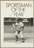 Autographs:Photos, 1969 Tom Seaver Signed Sportsman of the Year Magazine Clipping....