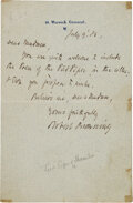 Autographs:Authors, Robert Browning Autograph Letter Signed....