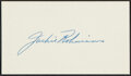 Autographs:Index Cards, Jackie Robinson Signed Cut. The unspoken policy t...