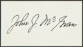Autographs:Index Cards, John McGraw Signed Cut Signature. Though his thir...
