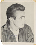 Movie/TV Memorabilia:Autographs and Signed Items, James Dean Signed Black and White Promo Page....