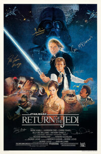 "Return of the Jedi (20th Century Fox, 1983). Rolled, Very Fine+. Autographed One Sheet (27"" X 41"") Style B, Ka..."