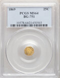 California Fractional Gold , 1869 25C Liberty Head Octagonal 25 Cents, BG-751, High R.4, MS64 PCGS. PCGS Population: (3/3). ...