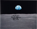 "Explorers:Space Exploration, Michael Collins Signed Apollo 11 ""Earthrise"" Color Photo, with LOA from Astronaut Archives. ..."