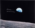 "Explorers:Space Exploration, Frank Borman Signed Apollo 8 ""Earthrise"" Color Photo."