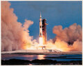 Explorers:Space Exploration, Michael Collins Signed Apollo 11 Launch Color Photo.