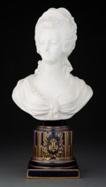 Ceramics & Porcelain, A Sevres-Style Porcelain Bust of Marie-Antoinette, 19th century. Marks: M, (crossed L's). 14-1/4 x 7 x 4-3/8 inches (36....
