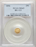 California Fractional Gold , 1856 25C Liberty Octagonal 25 Cents, BG-111, R.3, MS65 PCGS. PCGS Population: (9/3). NGC Census: (14/2). ...